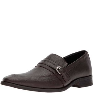 Calvin Klein Mens Reyes Leather Loafers Brown 10.5